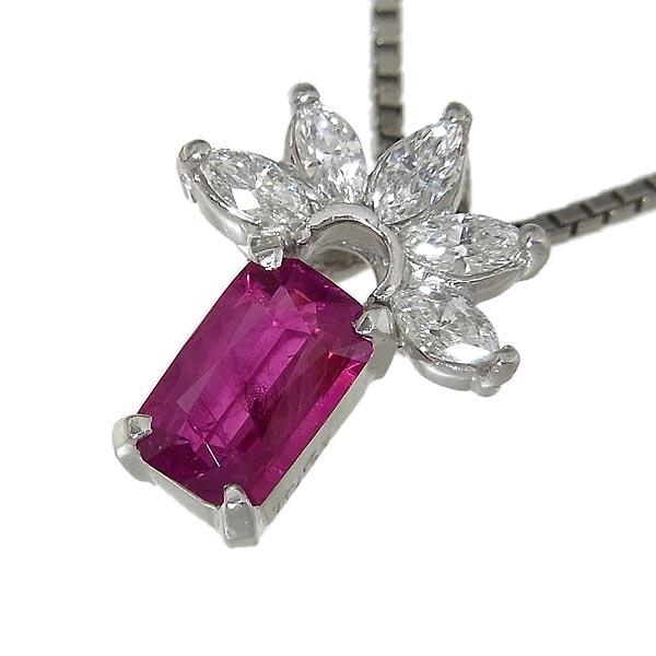 Pt850/Pt900ネックレスダイヤモンド ルビーペンダント付R:1.051ct、D:0.284ct、40cm、6.2g【中古】