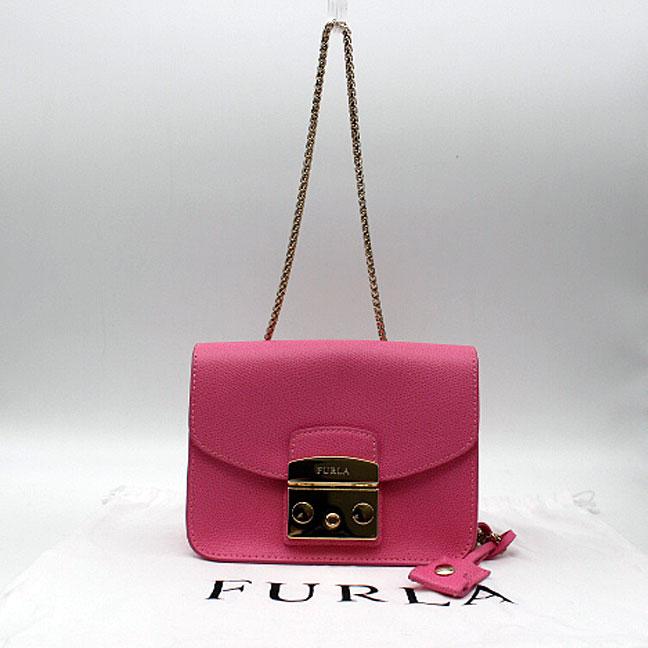 【FURLA】フルラチェーンポシェットバッグ レザー/ピンク【中古】