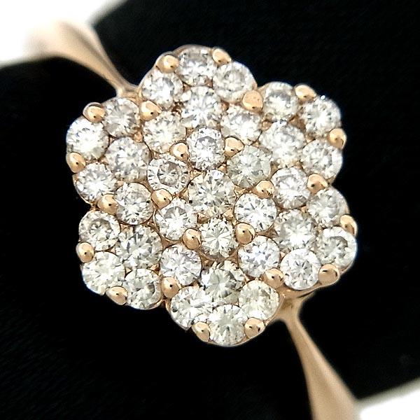 K18PGファッションリング花デザインダイヤ指輪D0.50ct/2.8g/11号【中古】送料無料