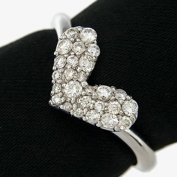 K18WGダイヤ入りファッションリングハートモチーフ指輪D 0.30ct/2.9g/11号【中古】送料無料