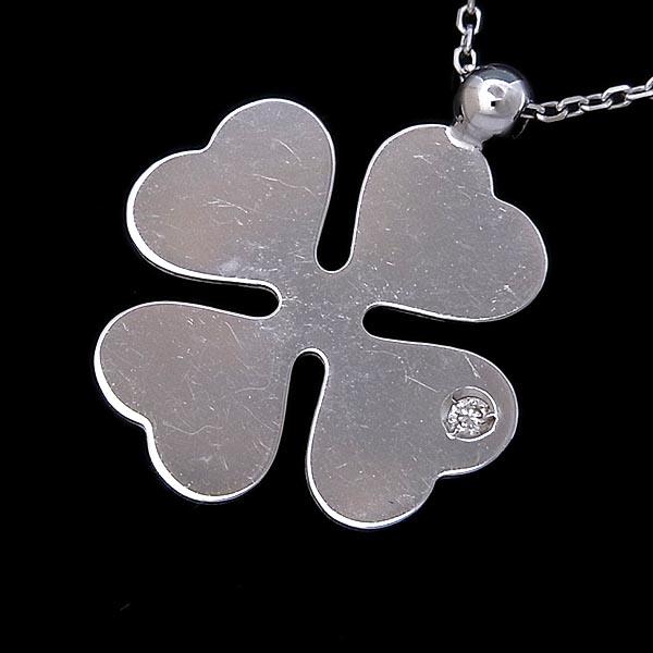 K18WG ネックレス 四葉のクローバーモチーフダイヤ入りペンダント付1.6g【中古】送料無料