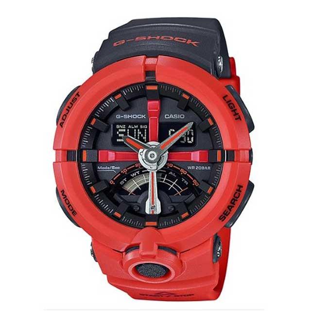 CASIO Gショック G-SHOCKパンチングパターンシリーズ メンズ 腕時計GA-500P-4A ブラック/オレンジ【新品】