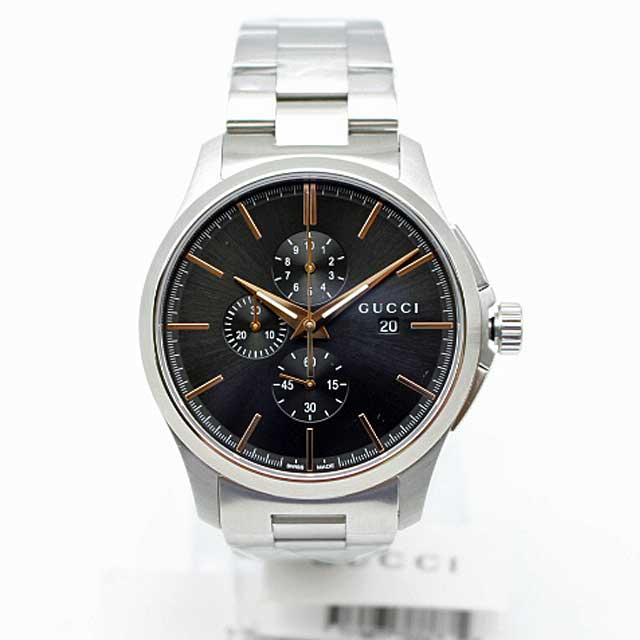 グッチ メンズ腕時計【Gタイムレスクロノ】GUCCI YA126272 ブラック シルバー 【新古、未使用】