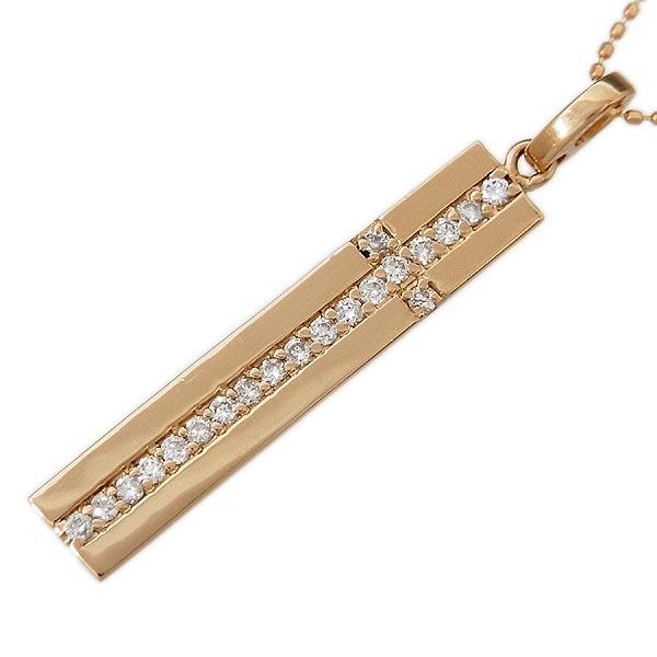 K18PGダイヤモンド クロス バーペンダント付ネックレス D:0.25ct/4.3g/40cm【中古】