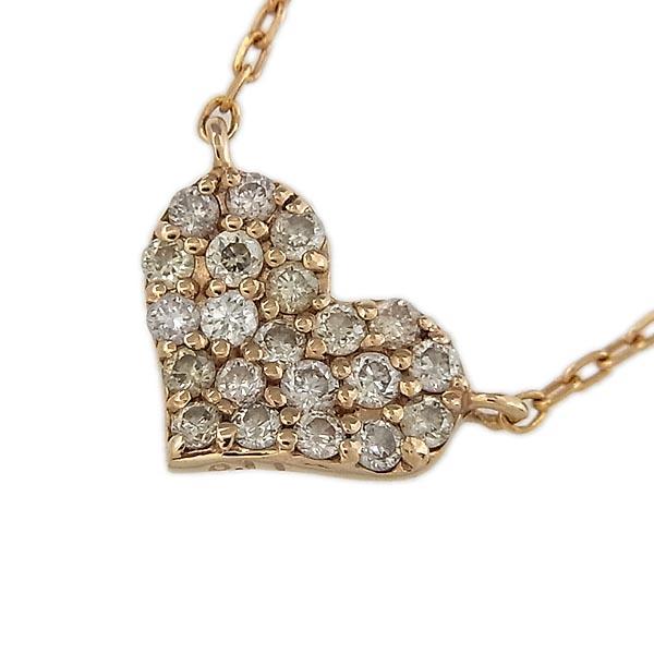 K18ローズゴールド ダイヤモンド0.11ctハートデザインペンダント付きネックレス【中古】