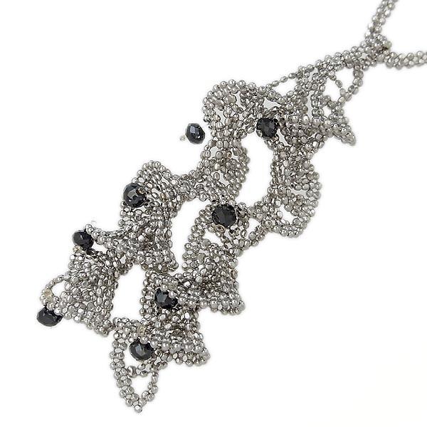 K18WGブラックダイヤ・ダイヤモンドデザインネックレス11.6g/D:1.30ct/45.4~50cm【中古】