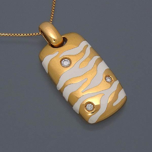 【ファッションネックレス】K18 ネックレス ダイヤ入りペンダント付8.7g/D 0.12ct【中古】送料無料