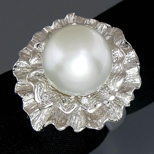 Pt900 白蝶南洋真珠指輪パール・ダイヤファッションリングD 0.9ct/12mm/17.8g/16号【中古】
