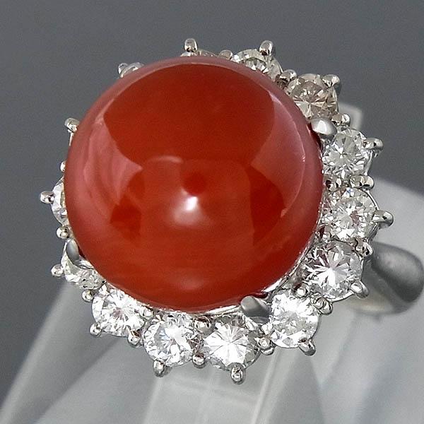Pt900血赤珊瑚指輪プラチナ 血赤サンゴリング 12.3mmD 1.23ct/12.0g/9号【中古】