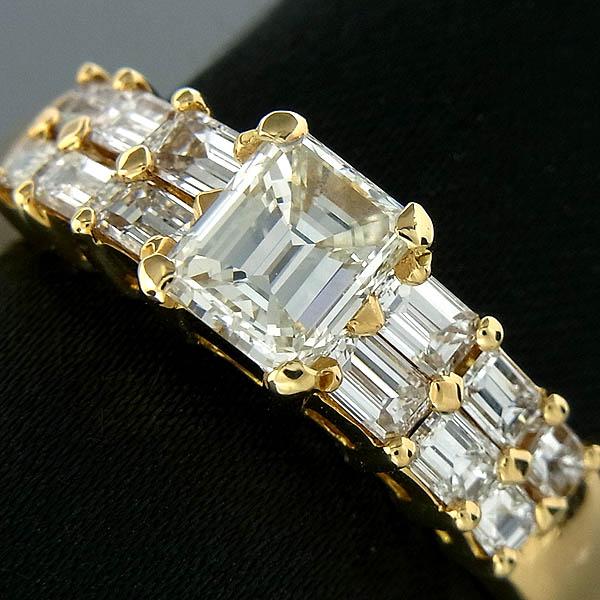 K18プリンスカット ダイヤモンドファッションリングD:0.964ct/I-VS1/D1.01ct/6.9g/19号【中古】送料無料