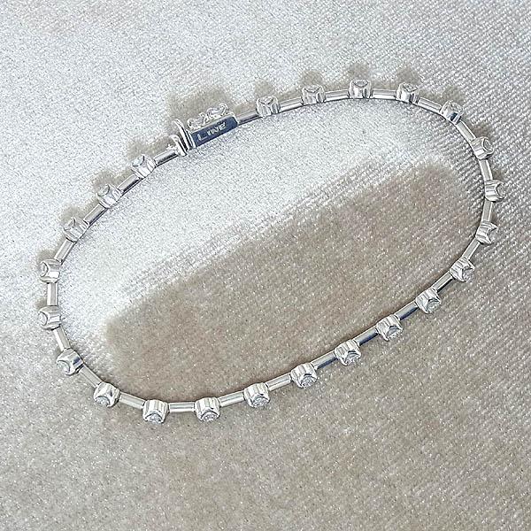 LINE K18WG ダイヤモンドテニス ブレスレットD1.25ct/7.6g【中古】送料無料