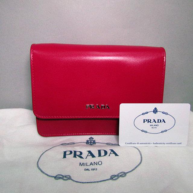 【PRADA】プラダBOX CALF ショルダーバッグ BT1031/PEONIA(ピンク)【中古】