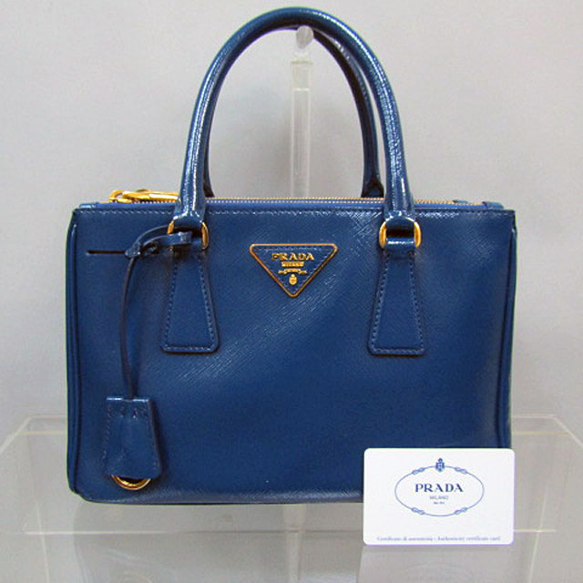 【PRADA】プラダSAFFIANO VERNIC 2WAYバックBL2316/COBALTO【中古】