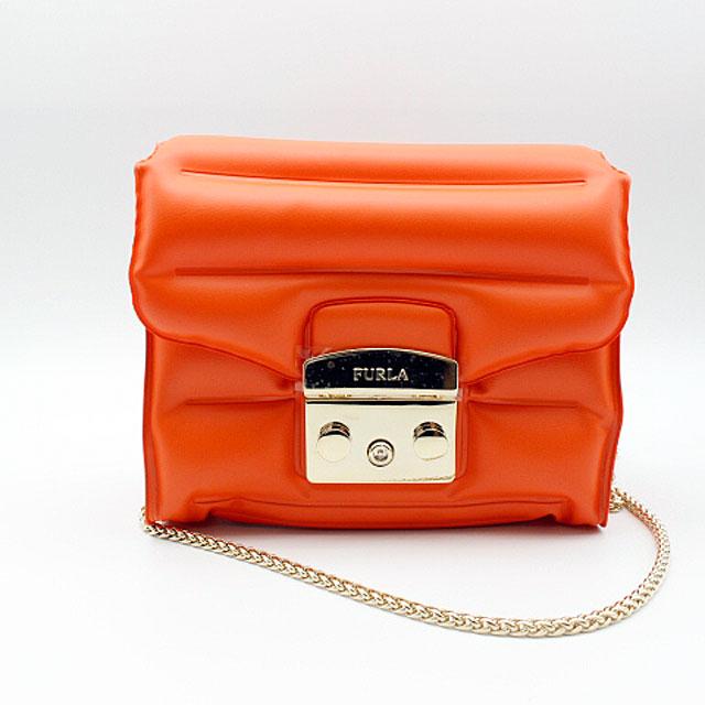 【FURLA】フルラメトロポリスクロスボディバッグ オレンジ/ PVC(塩化ビニール)【中古】