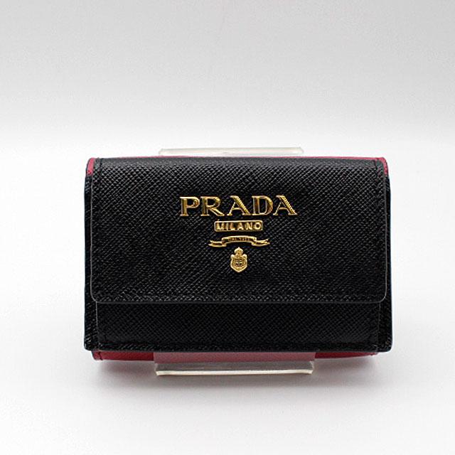 【PRADA】プラダ  SAFFIANO MULTIC 財布1MH021/NERO+IBISCO 【新品・未使用】