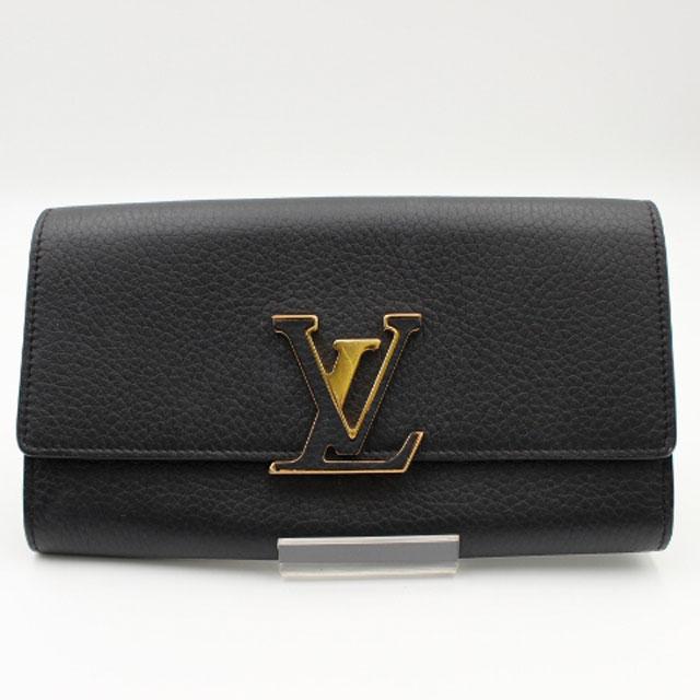 メゾンを象徴するエレガントなデザインの長財布です LOUIS VUITTON ルイ ヴィトンポルトフォイユ トリヨンレザー カプシーヌ セール品 M61248 買い取り ノワール 中古