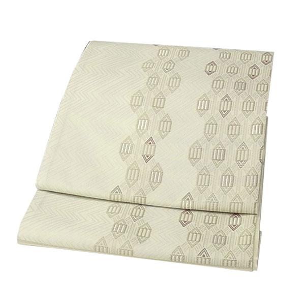 袋帯 正絹 西陣織 ふくろ帯 幾何学模様 クリーム