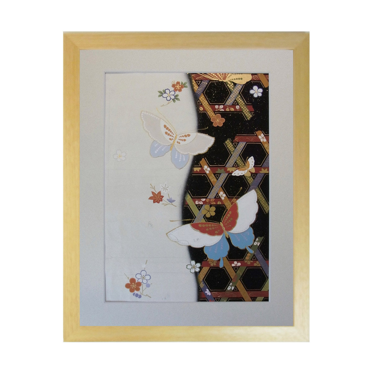 和風の額 壁掛インテリア 西陣織帯原画のアートフレーム 小サイズ 《115》