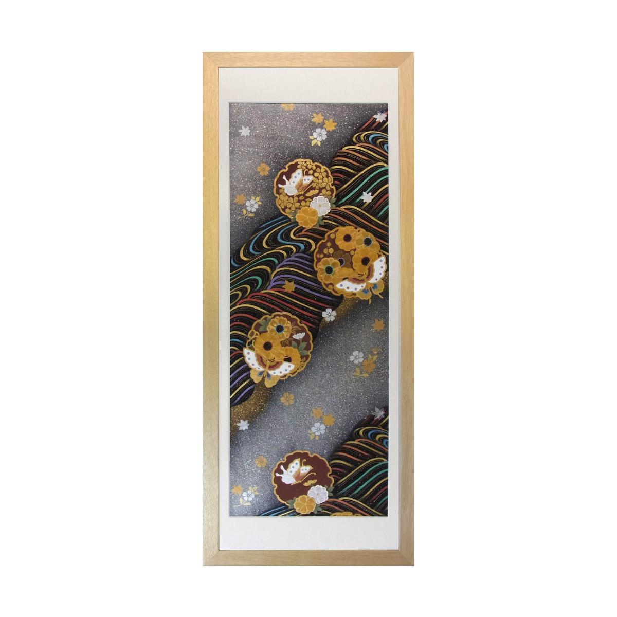 和風の額 壁掛インテリア 西陣織帯原画のアートフレーム 《28》