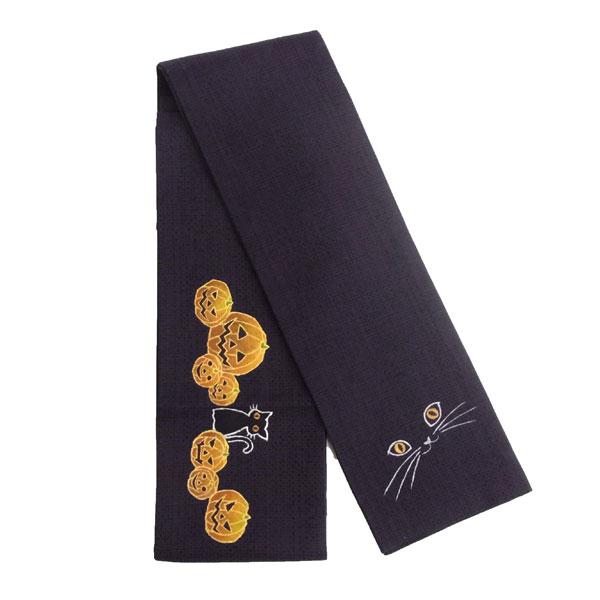 半幅帯 正絹 ハロウィン 「ハロウィン」 黒 青 紫 京玉響 西陣織
