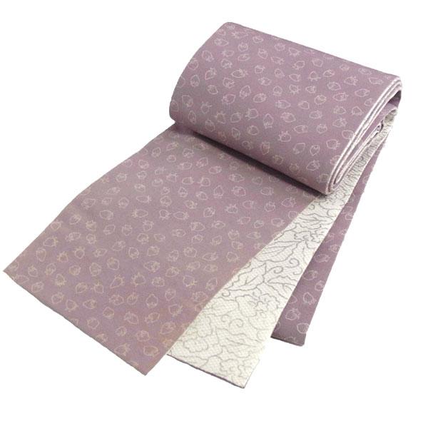 京玉響 リバーシブル 半幅帯 西陣織 張り芯仕立て「いちご」桃紫 正絹