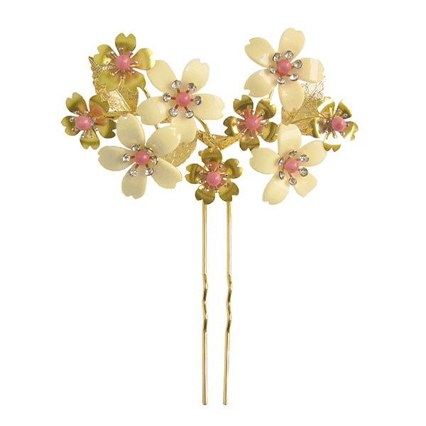 かんざし 簪 ヘッドドレス ヘアーアクセサリー 和装 髪飾り 振袖用 お洒落かんざし 花しおり「桜尽くし 金」