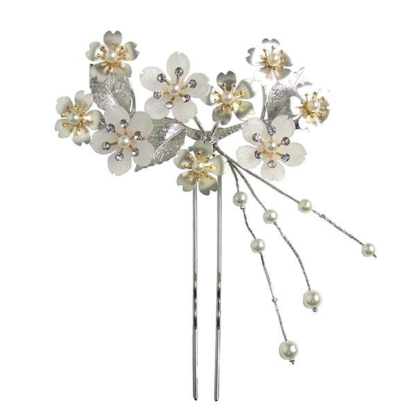 かんざし 簪 ヘッドドレス ヘアーアクセサリー 和装 髪飾り 振袖用 お洒落かんざし 花しおり「桜尽くし 銀」