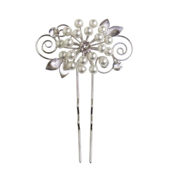 かんざし お洒落かんざし ヘッドドレス ヘアーアクセサリー 和装 髪飾り 銀 花しおり パールフラワー 大