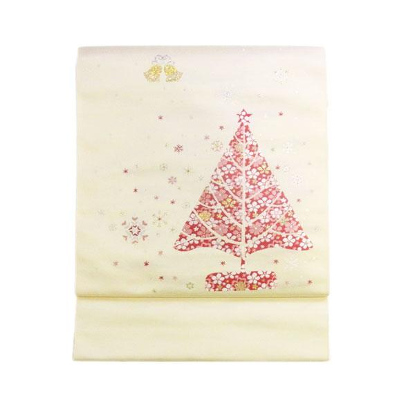 【送料無料】名古屋帯 正絹 西陣織 クリスマス 白 名古屋帯 【スノーツリー】クリーム【1610】