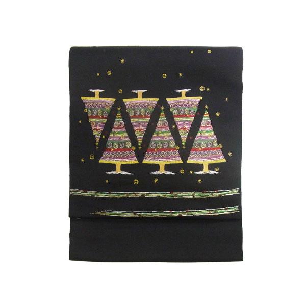 【送料無料】名古屋帯 正絹 西陣織 クリスマス 黒 仕立て上がり名古屋帯 【キルト ツリー】ブラック【1610】
