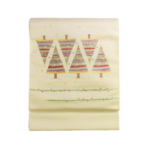 名古屋帯 正絹 西陣織 クリスマス 白 仕立て上がり名古屋帯 【キルト ツリー】クリーム【1610】