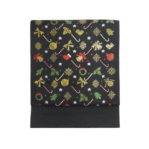 名古屋帯 正絹 西陣織 クリスマス 黒 「ツリー飾り」 ブラック