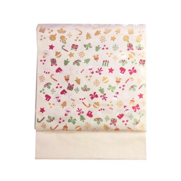 【送料無料】名古屋帯 正絹 西陣織 クリスマス 白 「ツリー飾り」 クリーム