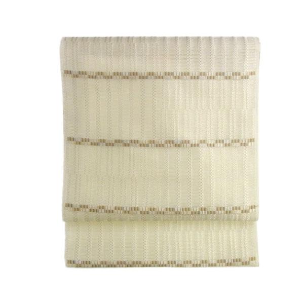 名古屋帯 正絹 西陣織 絽 夏用 絽名古屋帯 横縞柄 砂色