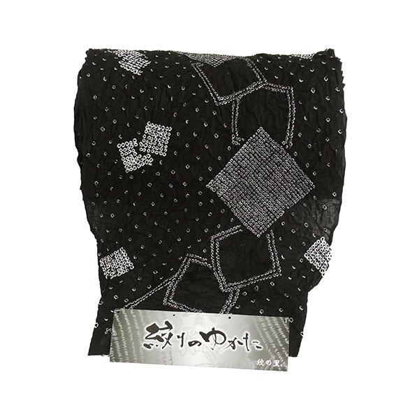 【送料無料】浴衣 反物 有松鳴海 絞り 黒 有松鳴海絞~木綿ゆかた~仕立て浴衣 反物 黒 1