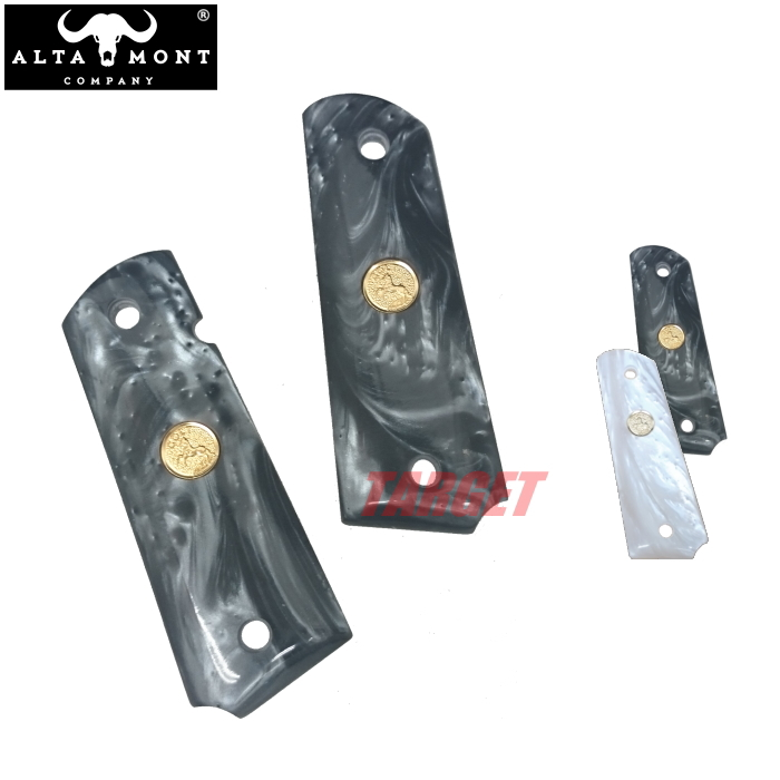 アルタモント COLT M1911A1 ガバメント用 フェイクパールグリップ パネル メダル入り ホワイト/ブラック (ALTAMONT コルト ホワイトパール ブラックパール)
