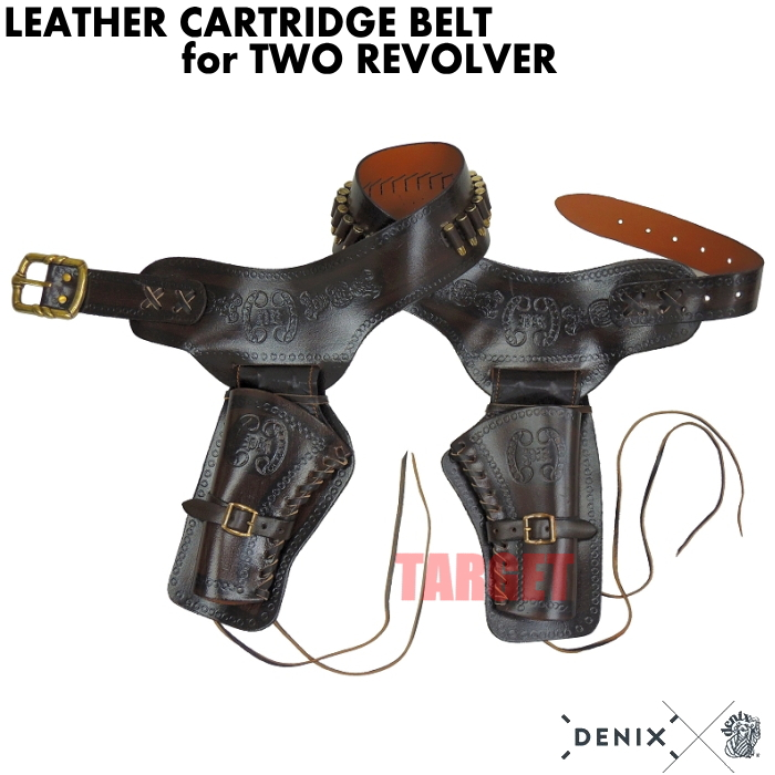 DENIX リボルバー 2丁用ガンベルト カートリッジ付 704 (デニックス COLT SAA ピースメーカー レプリカ)