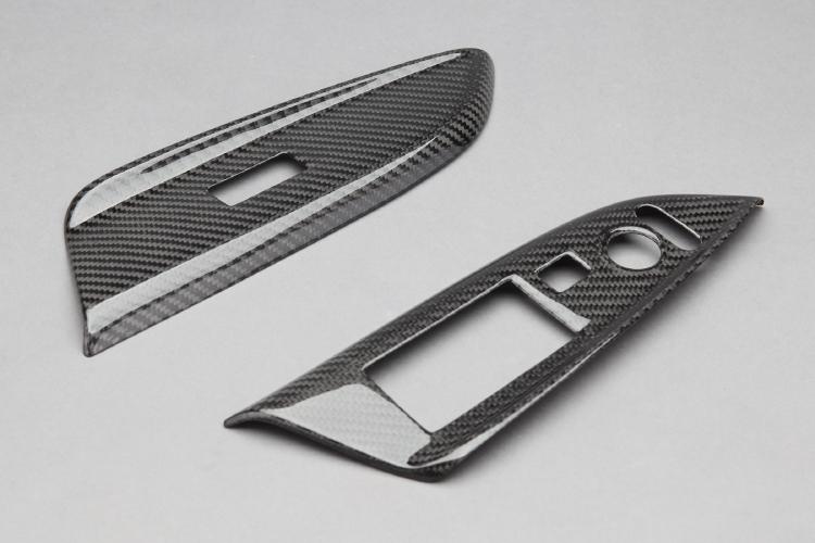 【VISION】 カーボンパーツ ドアスイッチパネル 左右セット フィットハイブリッド 2013.9~ GP5.6 簡単装着!【運送便 60サイズ 対応】