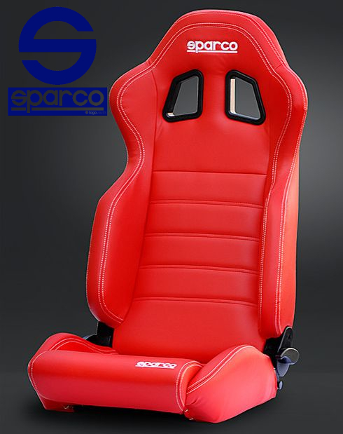 SPARCO/スパルコ リクライニングセミバケットシート R100 SKY ミラノレッド PVCレッドレザー/ホワイトステッチ ※代引き不可