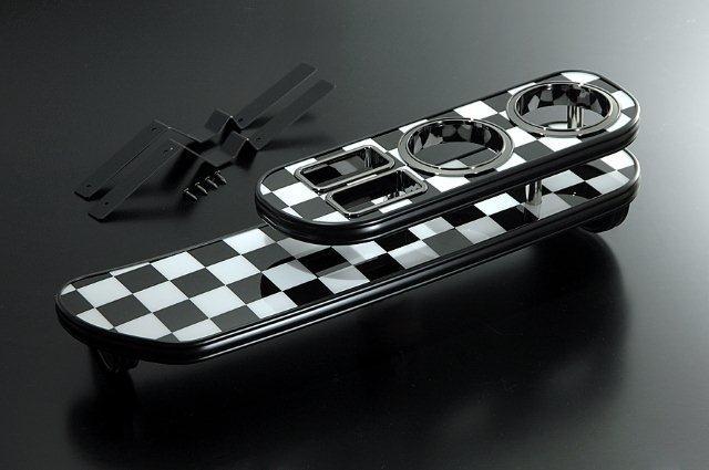 【BUSSELL】MINI専用フロントナビテーブル チェッカーフラッグ BMW ミニ(R50.R53) RA16.RE16 ワン.クーパー.クーパーS(ハッチバック)※グローブボックスがない車種は装着不可【運送便 100サイズ 対応】