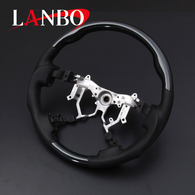 【LANBO】ハイエース 200系 4型・5型(標準車/ワイド車共通)専用 ブラックカーボン調 ガングリップタイプ 純正エアバック対応ステアリング 代引き不可【運送便 100サイズ 対応】