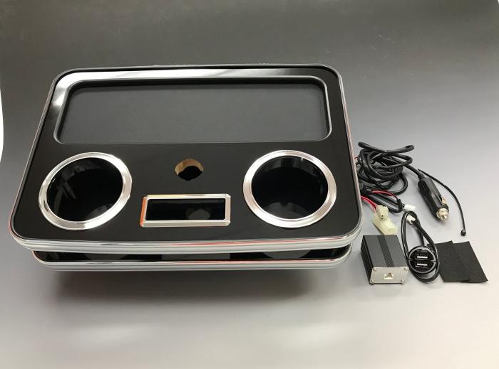 BUSSELL ハイエース 200系専用 USB急速充電ポート付センタードリンクテーブル リア(トレー後側) ピアノブラック 標準ボディ・ワイドボディ共通 ドリンクホルダーやスマホの小物置きに♪【運送便 100サイズ 対応】