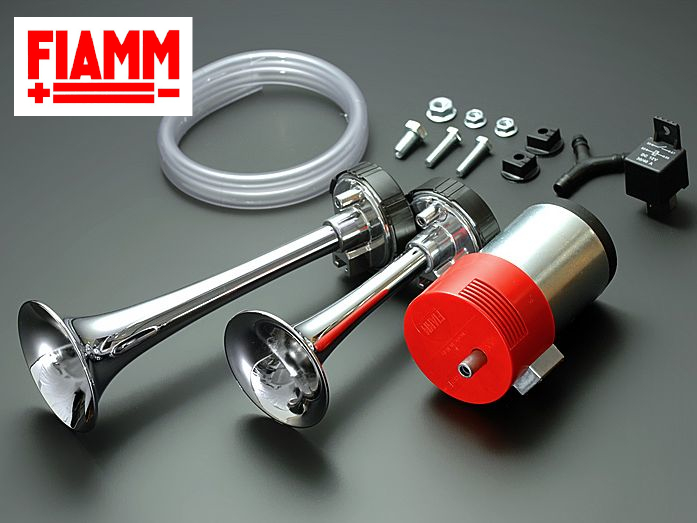 【 M4/CLASSIC 】FIAMM/フィアム フェラーリ車用 クロームトランペット2連エアホーン 【運送便 60サイズ 対応】