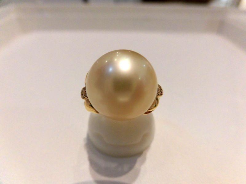 K18南洋真珠ダイヤモンド/パール12.7mm D0.06ct/2118/リング/指輪/ゆびわ/ring/ジュエリー/女性用/レディース/プレゼント/ギフト/お買い得/オススメ/送料込み/宝石