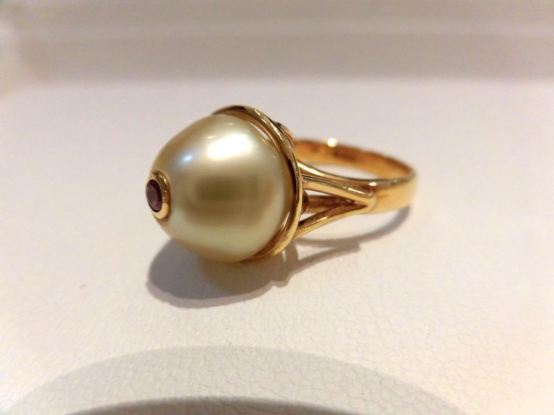 K18南洋真珠トルマリンリング/B9363 B9667/パール12.3mm /指輪/ゆびわ/ring/ジュエリー/ダイヤ/女性用/レディース/プレゼント/ギフト/お買い得/オススメ/送料込み/宝石