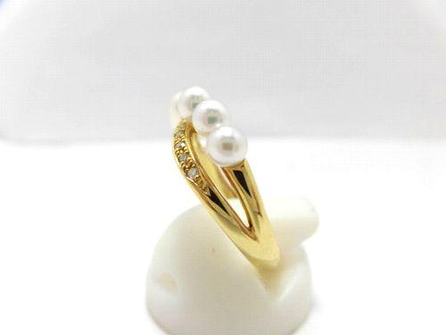 K18あこや真珠ダイヤリング/3.5~4.0mm 7ピース/ダイヤ0.07ct/リング/パール/真珠/南洋/pearl/指輪/ゆびわ/ring/ジュエリー/女性用/レディース/プレゼント/ギフト/お買い得/オススメ/宝石/高級