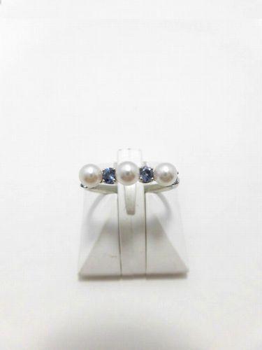 Ptアコヤ真珠サファイアリング/真珠 3.9mm 3ピース/サファイア0.35ct/R-703/
