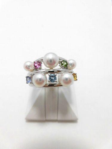 K18WGアコヤ真珠カラーストーンリング/真珠 3.8~5.3mm 5ピース/カラーストーン 5石/R-530/
