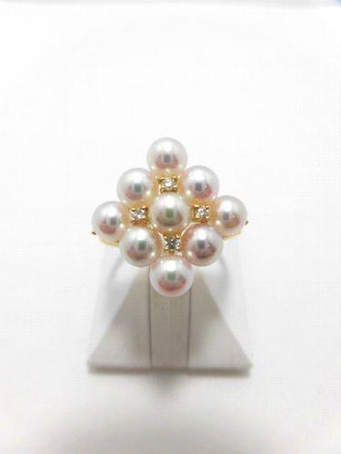 K18アコヤ真珠ダイヤ入りリング/真珠 4.4mm 9ピース/ダイヤ 0.08ct/RGM-003