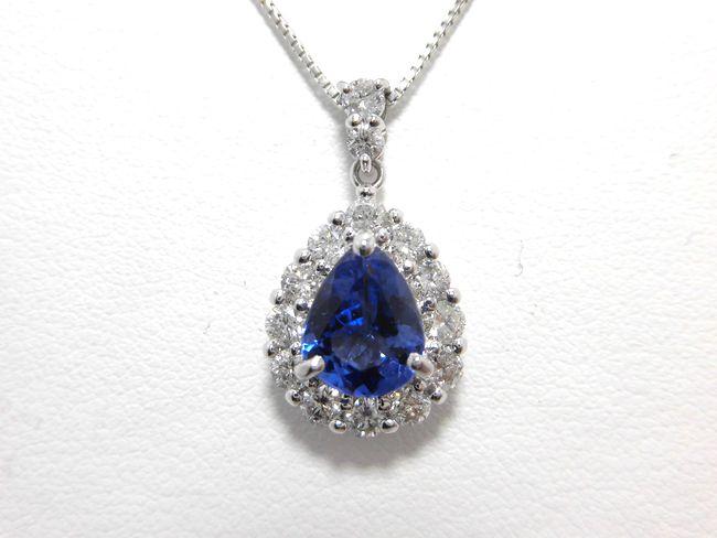 Ptタンザナイトダイヤペンダント タンザナイト 1.72ct ダイヤ 0.93ct 45cm F8800 ペンダント タンザナイト ダイヤモンド